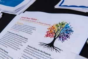 printed page with tree with rainbow leaves