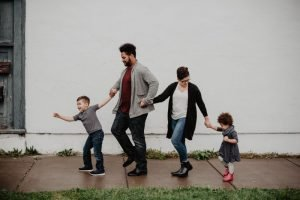 Family holding hands while walking