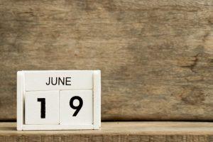 Wooden blocks reading June 19