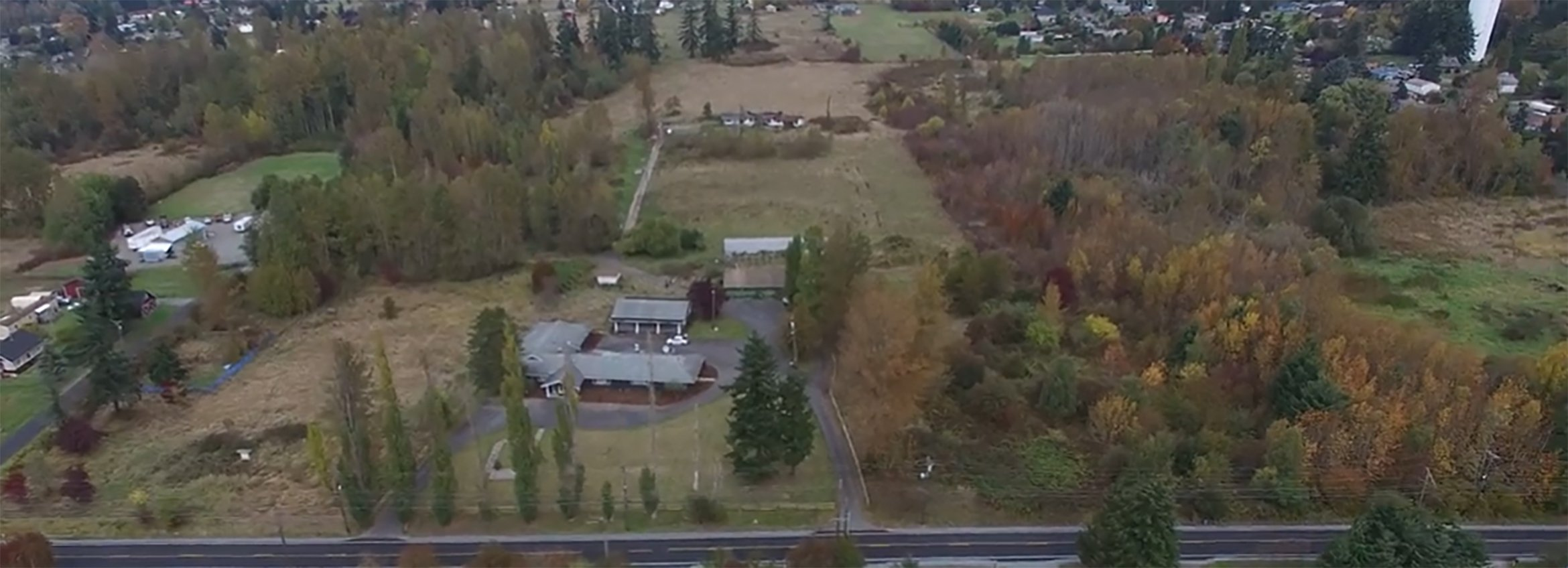 Aerial view of Amara's property in Pierce County
