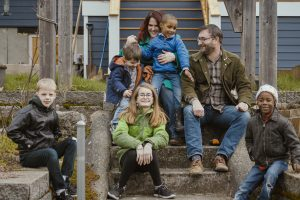 Shafer Family sitting on their porch